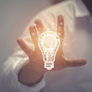 Business Idea And Vision, Businessman Holding Light Bulb, Concep