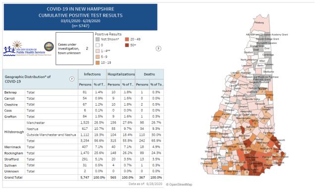 Map of Cumulative Positive Cases